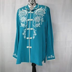BOB MOCKIE Wearablw Art Embroidered Top Medium NWT